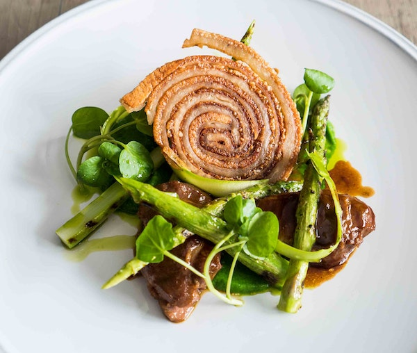 Barfoots Raw and Grilled Asparagus , broccoli puree , Braised Pork Cheek by Paul Welburn