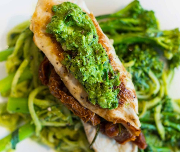 Barfoots Chicken Pesto Courgetti by Tessa Seward and Becki Rabin