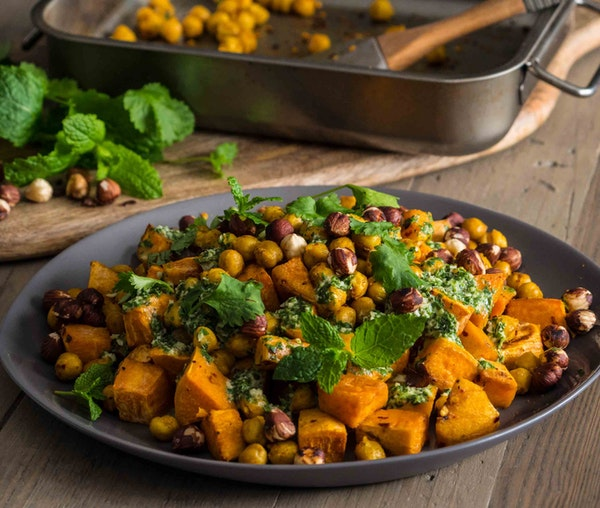 Barfoots Roast sweet potato with roast chickpeas & herby tahini dressing by Niki Webster
