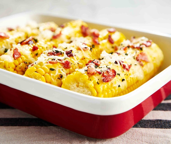 Sweetcorn baked with crispy bacon and melted cheddar cheese