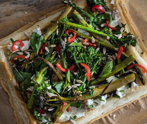 Asparagus and tenderstem™ goat's cheese puff pastry recipe by Bec Dickinson